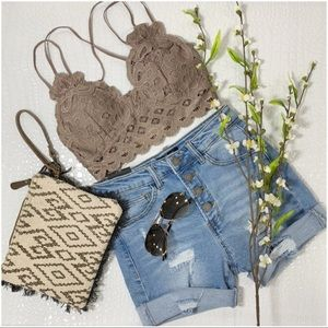 Dark Taupe Lace Padded Bralette